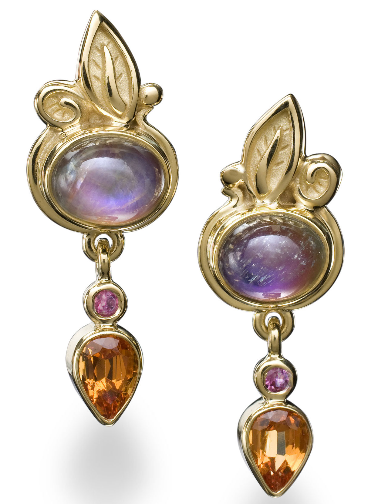 Conni Mainne rainbow moonstone and garnet drop earrings | JCK On Your Market