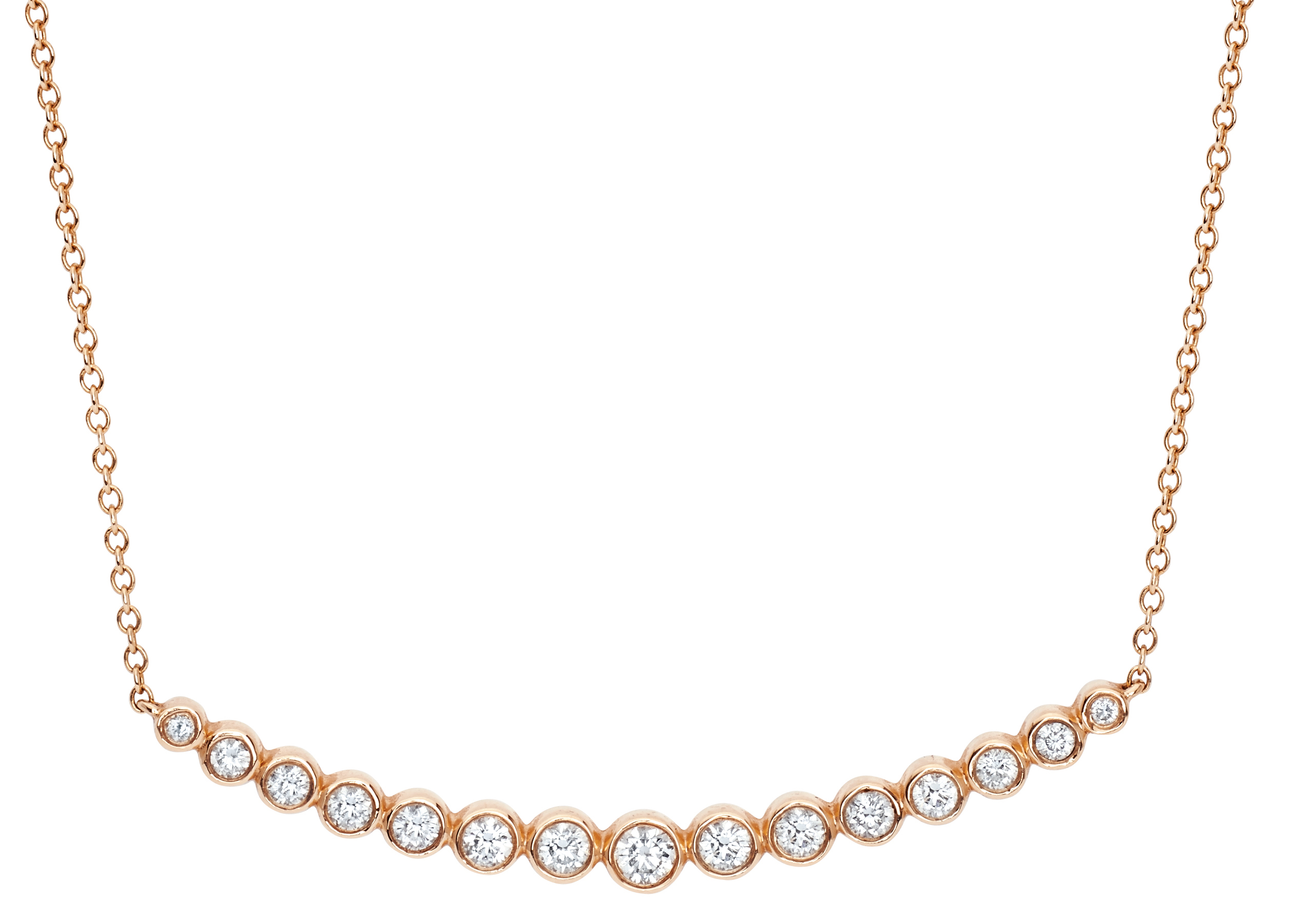 EF Collection multi-bezel diamond crescent necklace