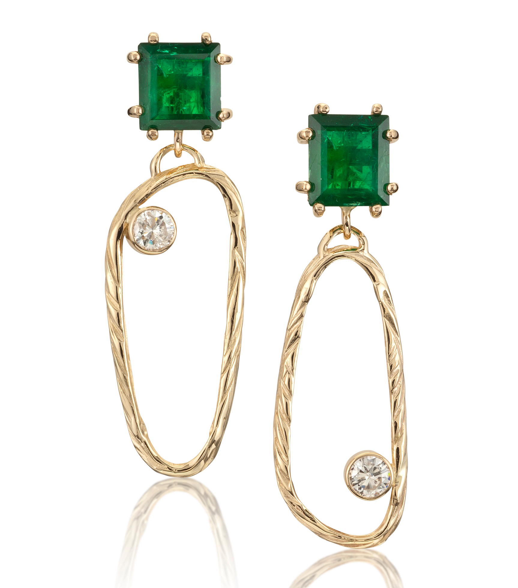 Alexis Barbeau emerald and diamond Sea Grass earrings | JCK On Your Market