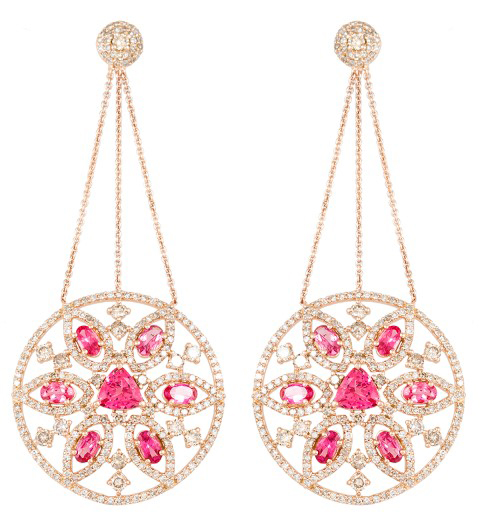 Bavna pink spinel and diamond earrings | JCK On Your Market