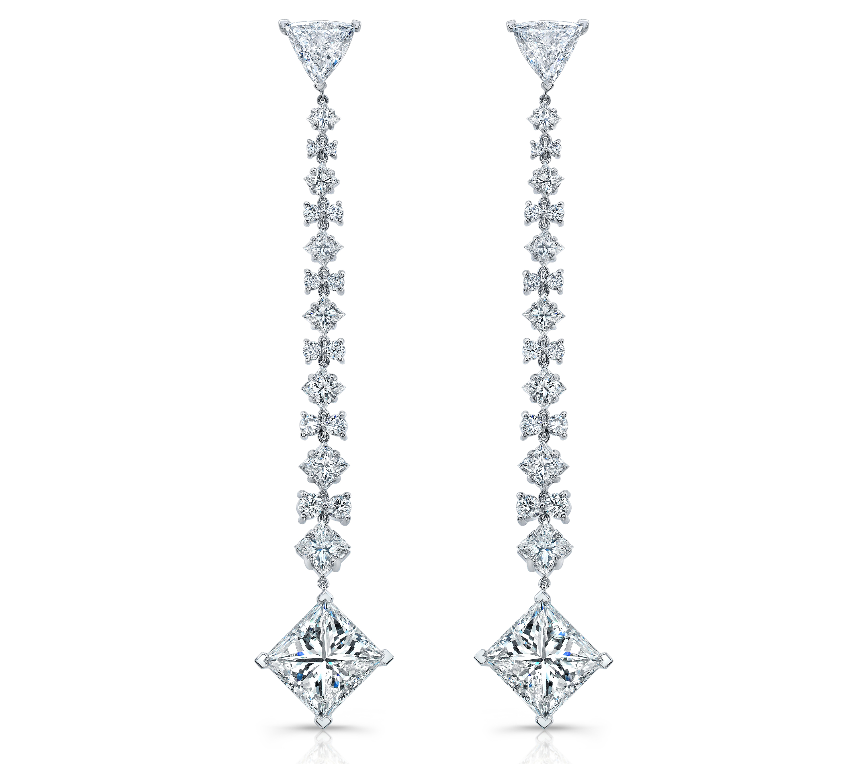 stud yg cut products earring earrings trillion diamond trillionstuds frontvu papa