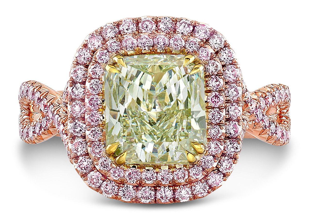 Rahaminov radiant fancy yellow green and pink diamond ring | JCK On Your Market