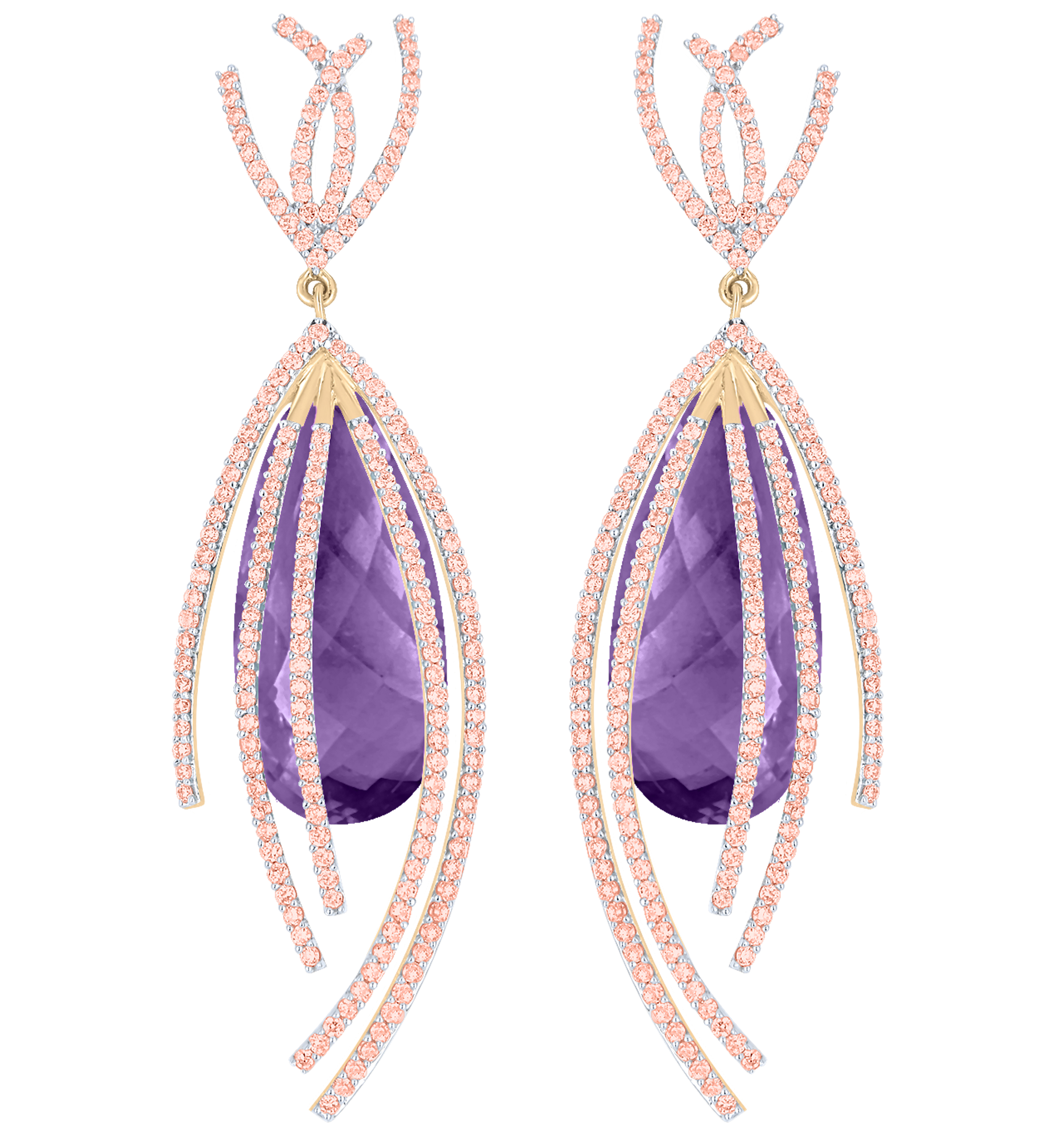 Arya Esha Galaxy amethyst drop earrings | JCK On Your Market