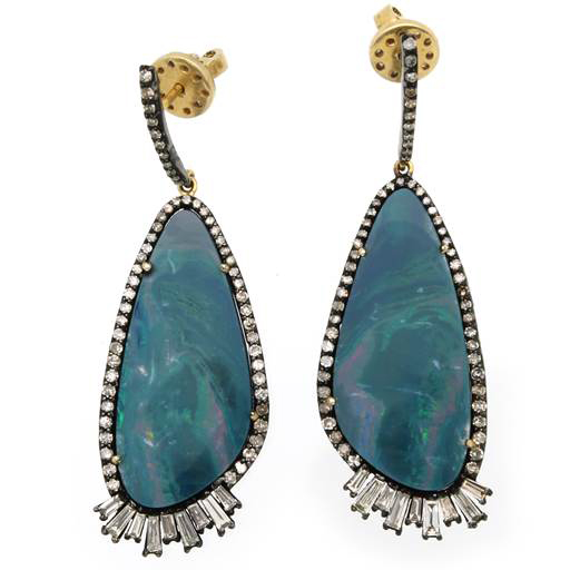 J S Noor opal and tourmaline drop earrings | JCK On Your Market