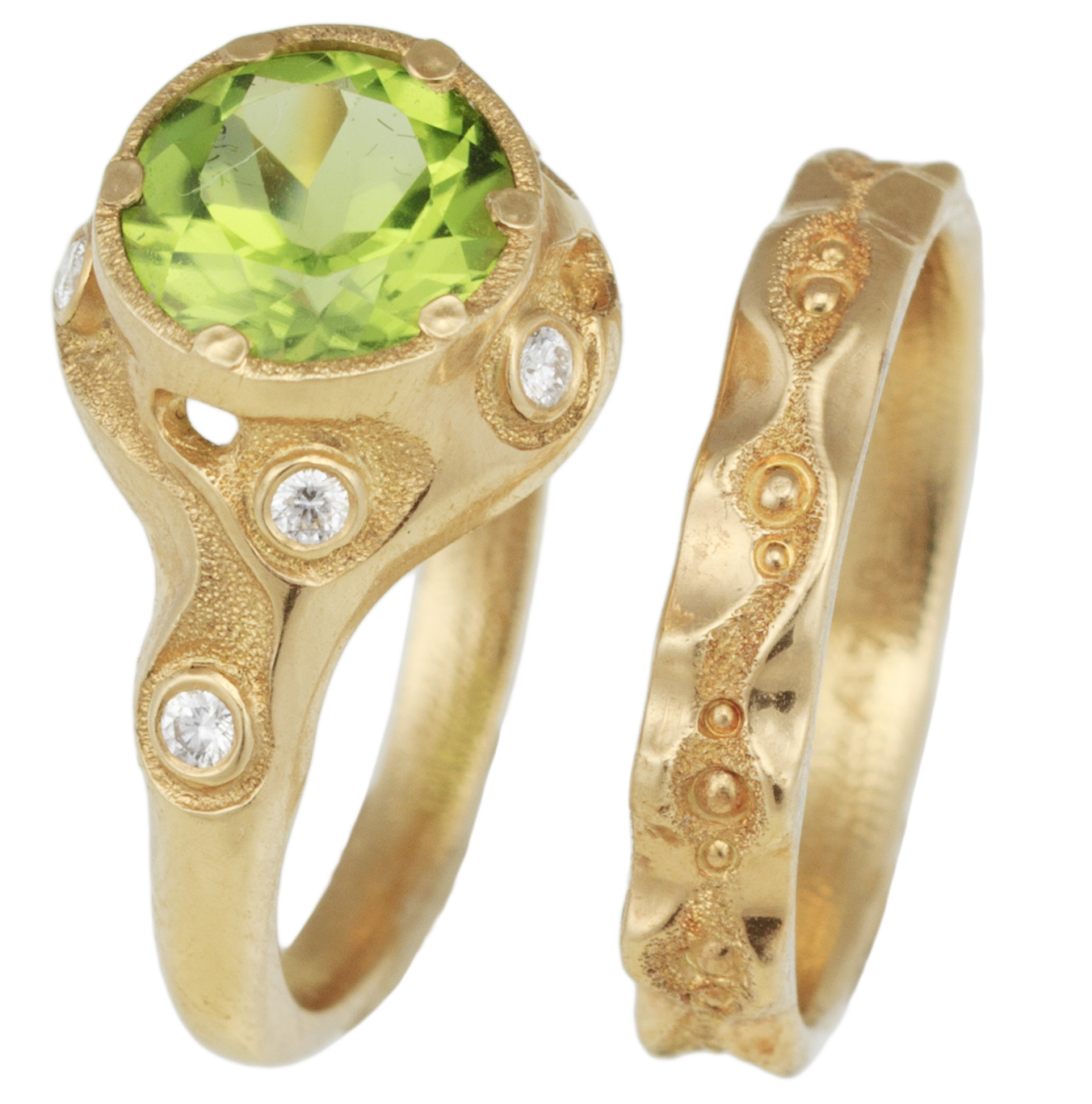 Audrius Krulis Swirling Brook peridot bridal set | JCK On Your Market