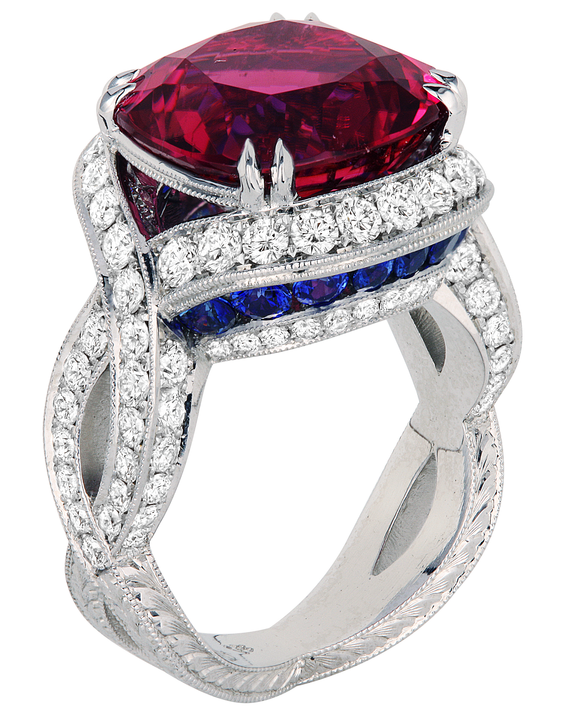 Jack Kelege pink tourmaline and sapphire ring | JCK On Your Market