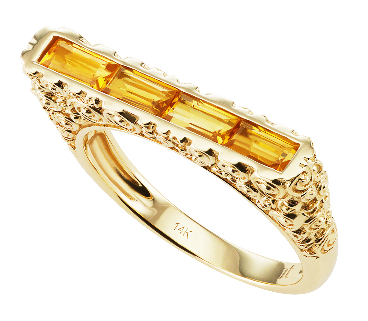 Jane Taylor Jewelry Rosebud skinny citrine bar ring | JCK On Your Market