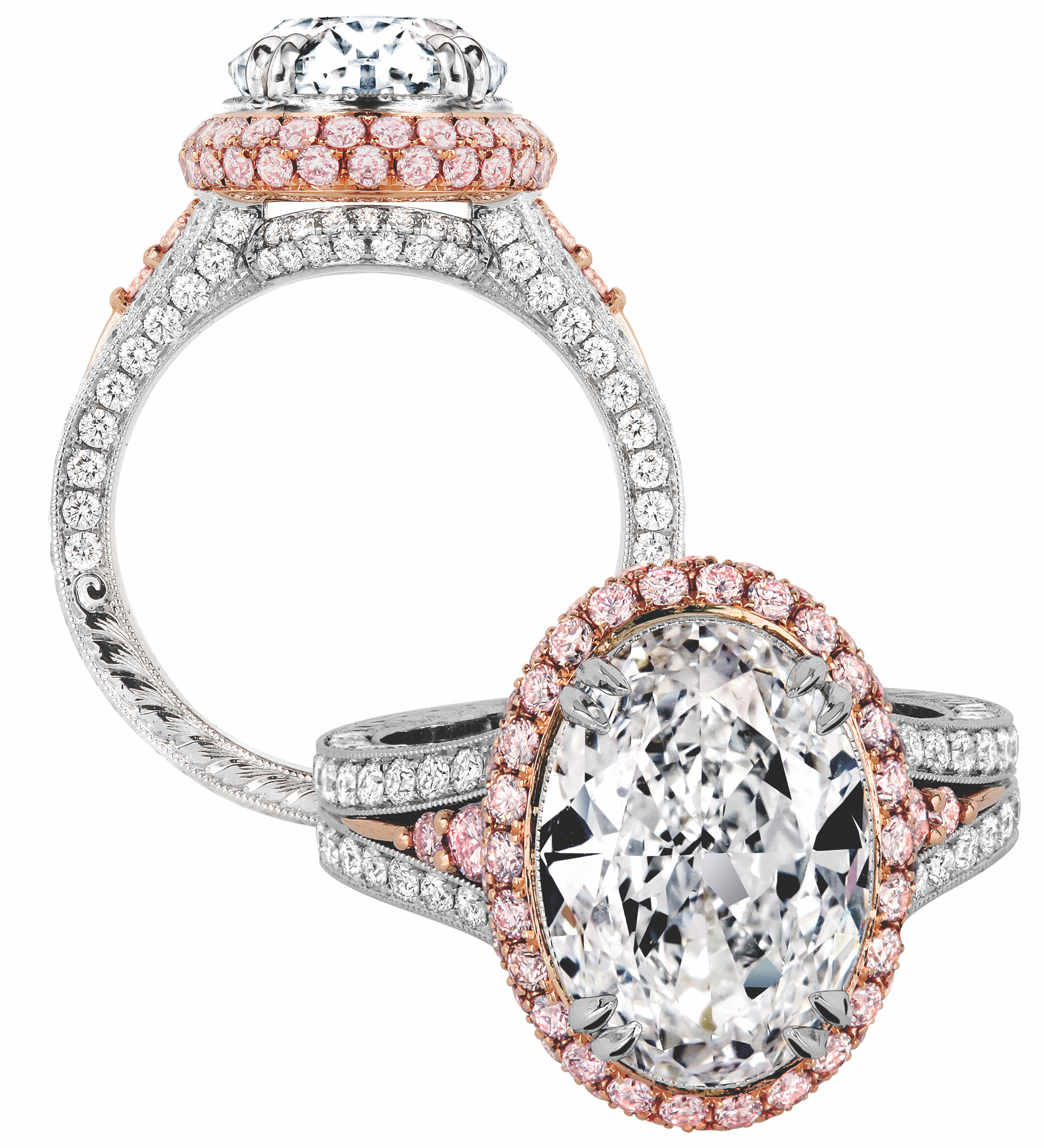 Jack Kelege oval diamond engagement ring with pink | JCK On Your Market