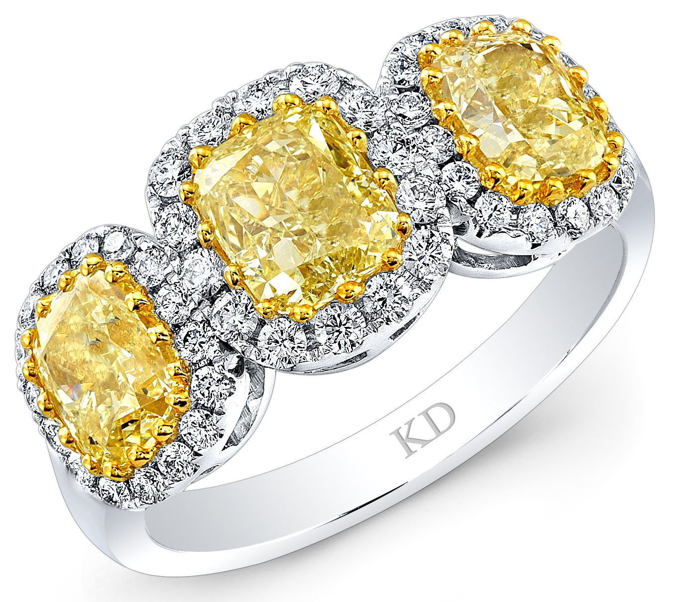 Kattan three-stone yellow diamond ring | JCK On Your Market