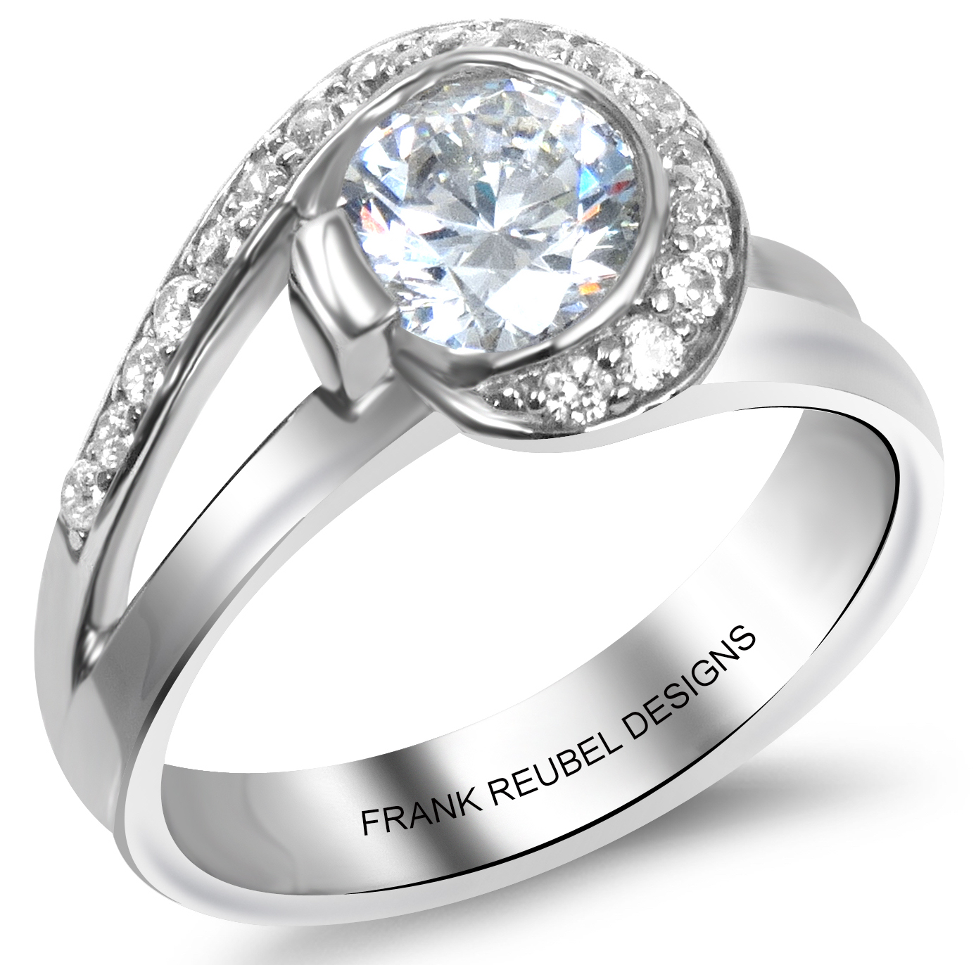 Frank Reubel half bezel diamond engagement ring | JCK On Your Market