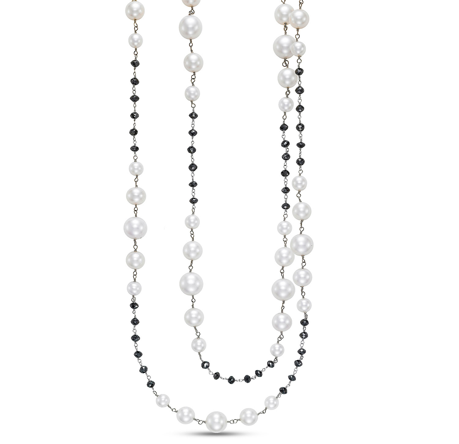 Mastoloni Dana pearl and black diamond bead necklace | JCK On Your Market