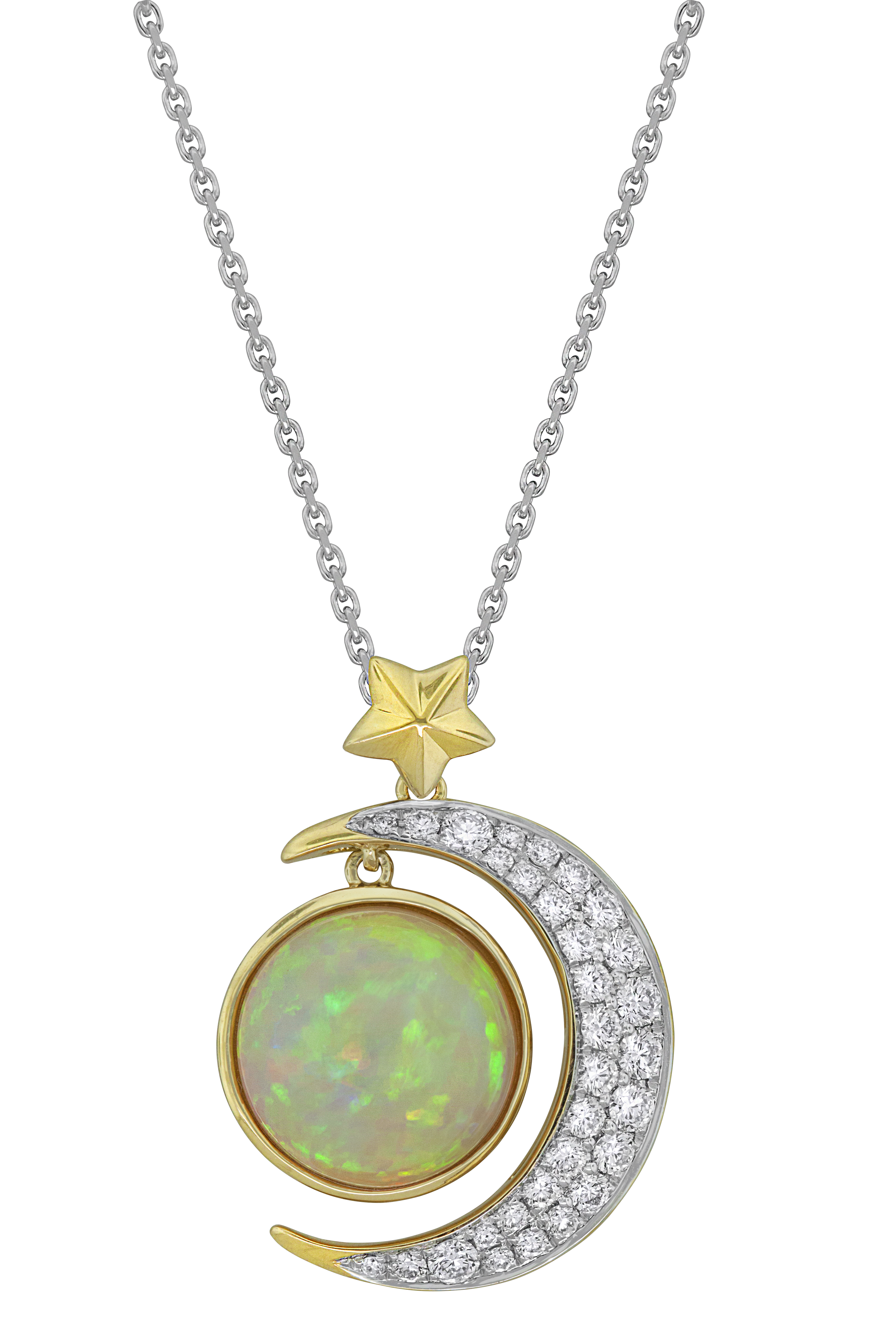 Spark opal crescent moon pendant #BRITTSPICK | JCK On Your Market