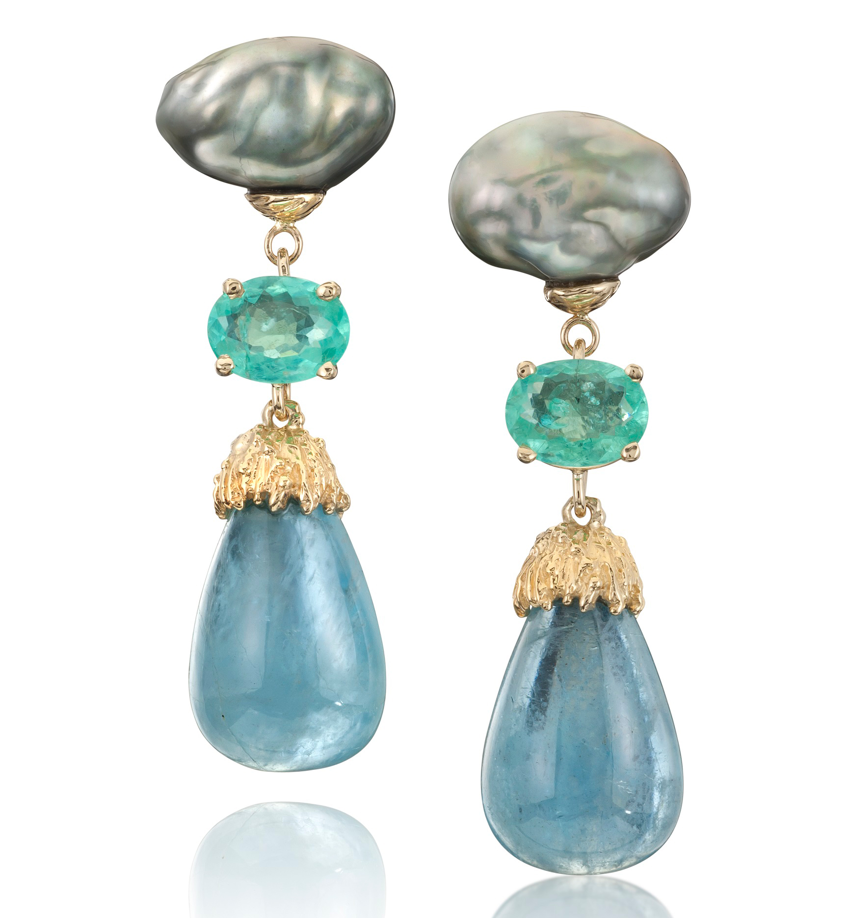 Alexis Barbeau pearl, Paraiba, and aquamarine drop earrings | JCK On Your Market