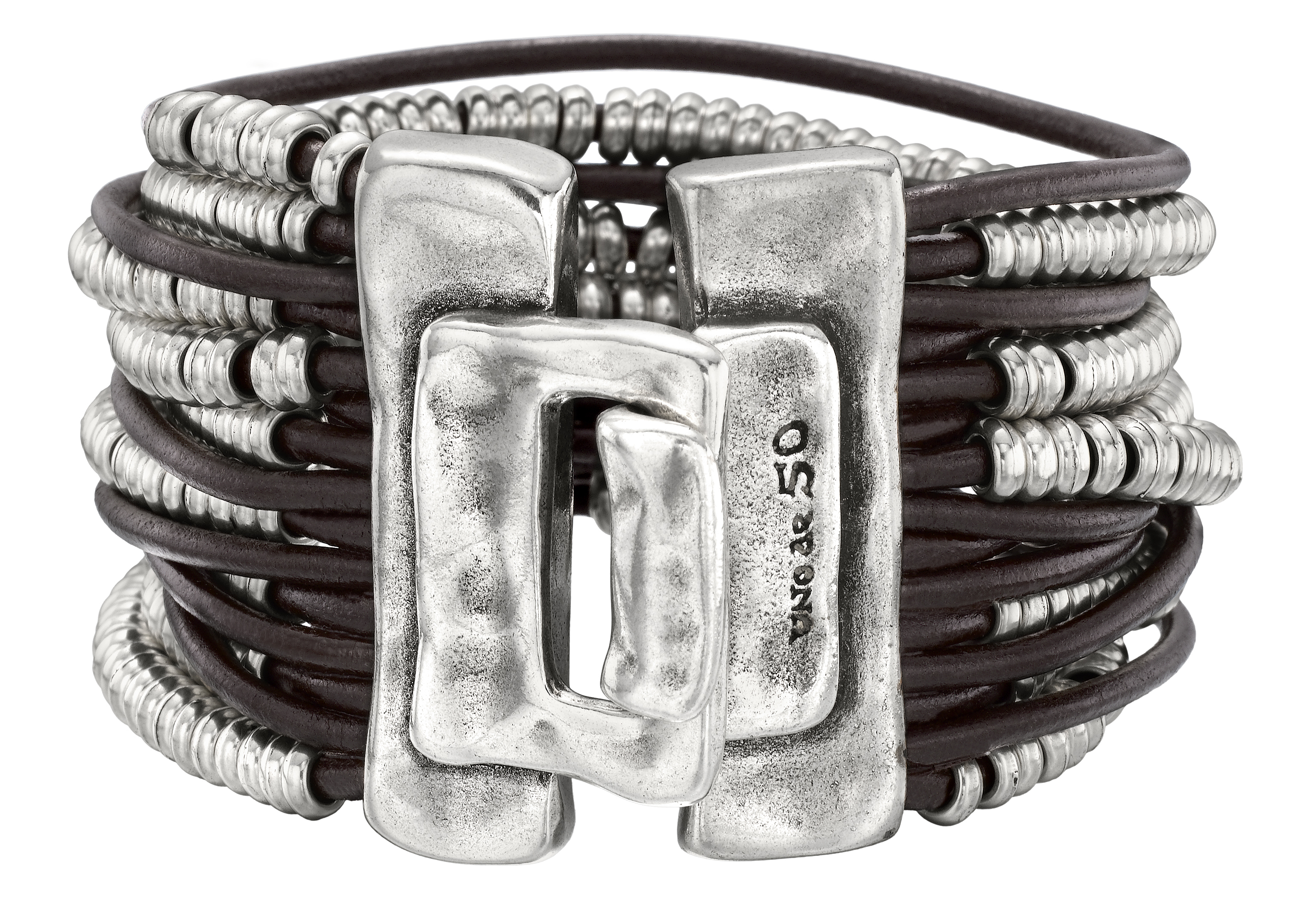 UNOde50 multi-strand leather and silver bracelet | JCK On Your Market