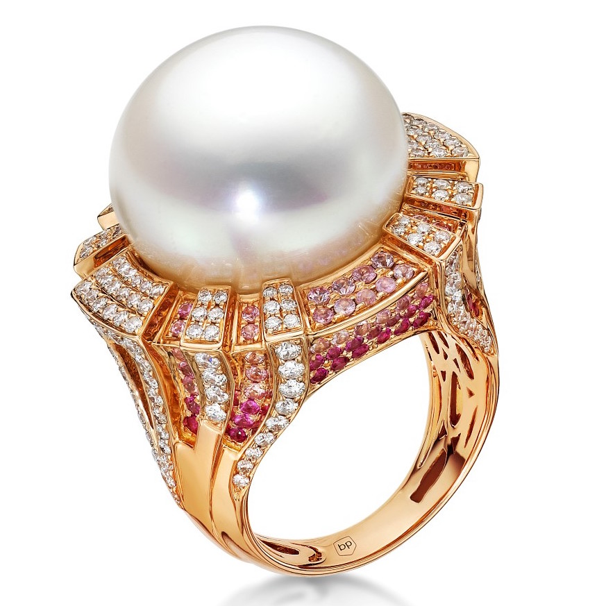 Belpearl South Sea pearl and pink sapphire ring | JCK On Your Market