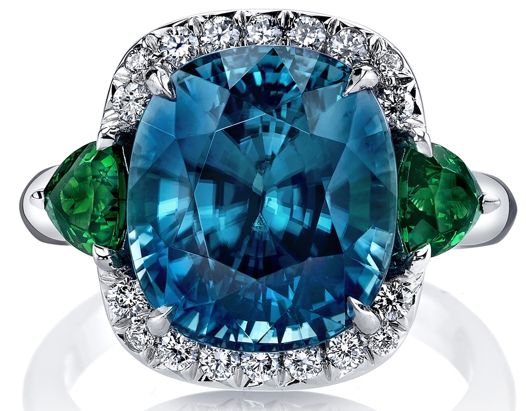 Omi Privé blue zircon and tsavorite Monaco ring | JCK On Your Market