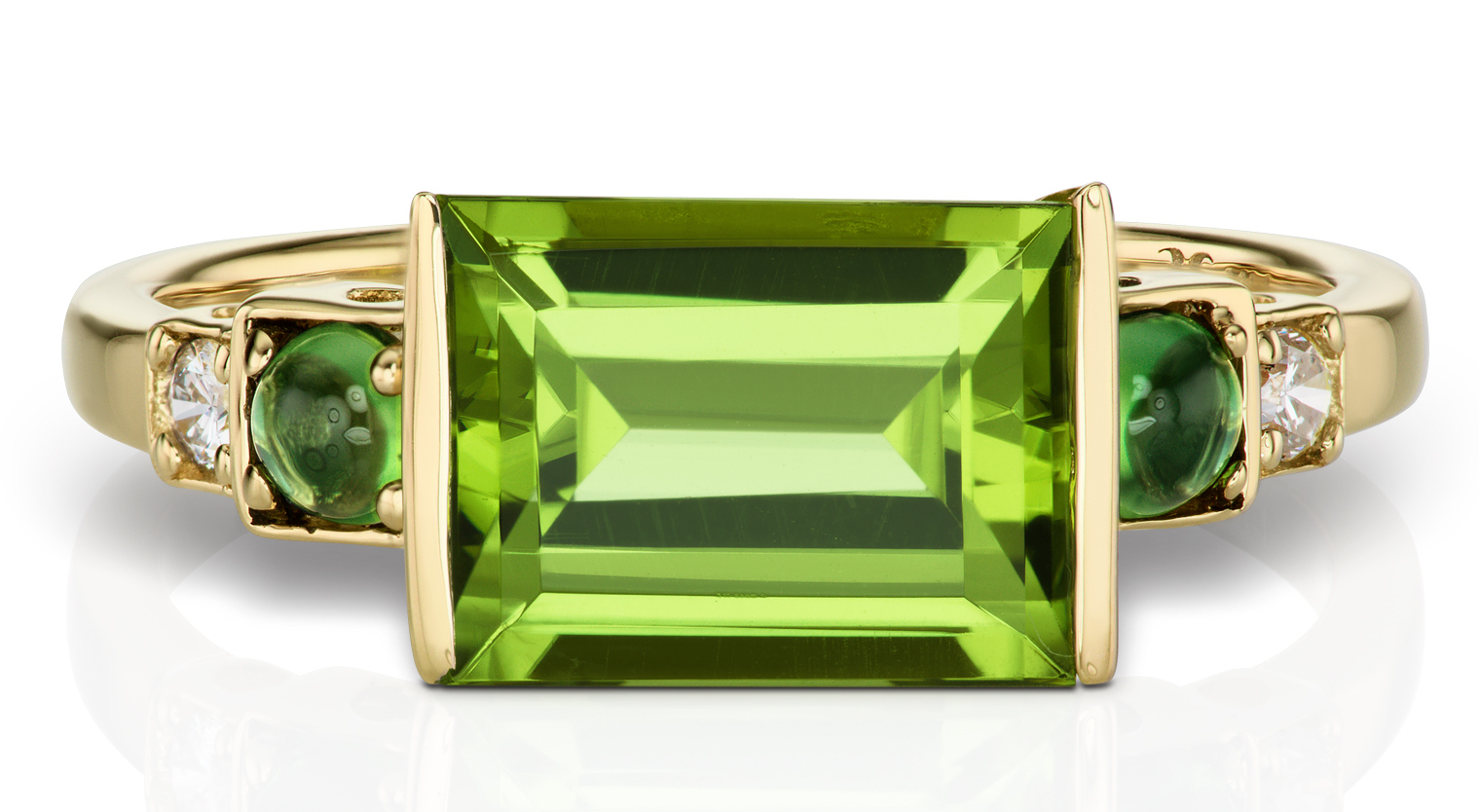 Jane Taylor Jewelry BoDeco baguette ring in peridot | JCK On Your Market