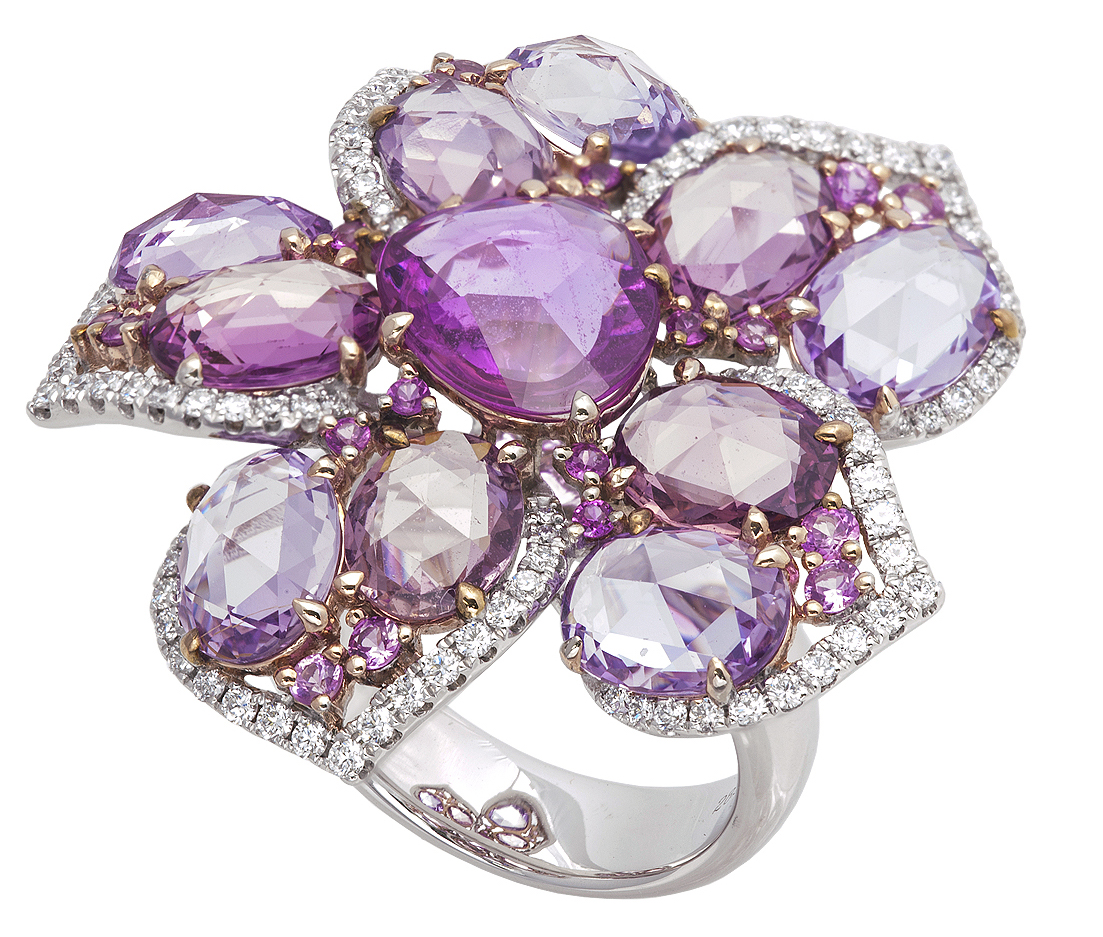 Jye Luxury Collection rose-cut sapphire and diamond flower ring | JCK On Your Market