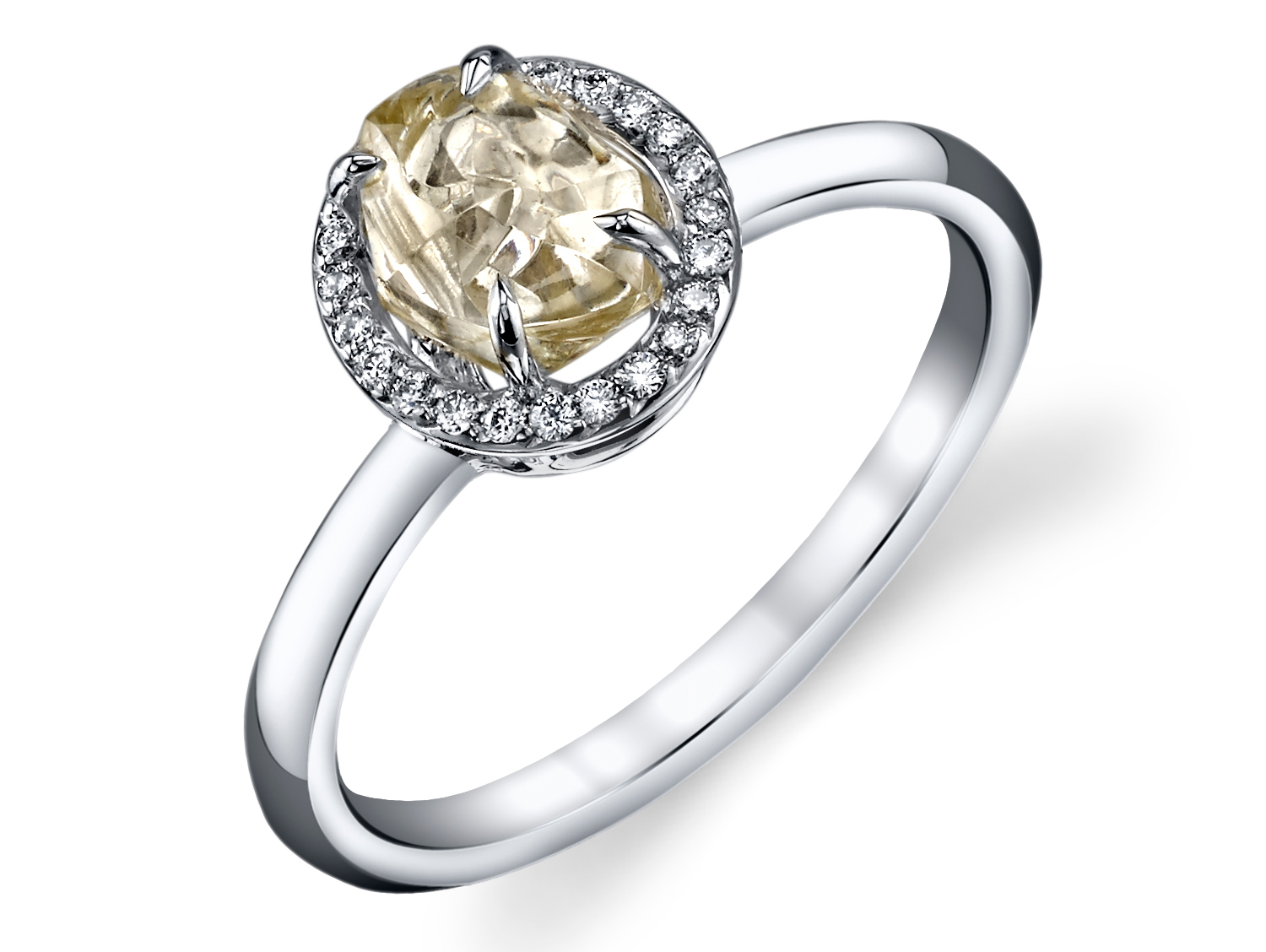 Rhonda Faber Green You Complete Me raw fancy diamond ring | JCK On Your Market