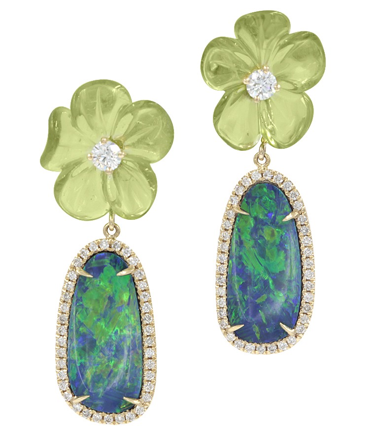 Rina Limor carved peridot flower and opal drop earrings | JCK On Your Market