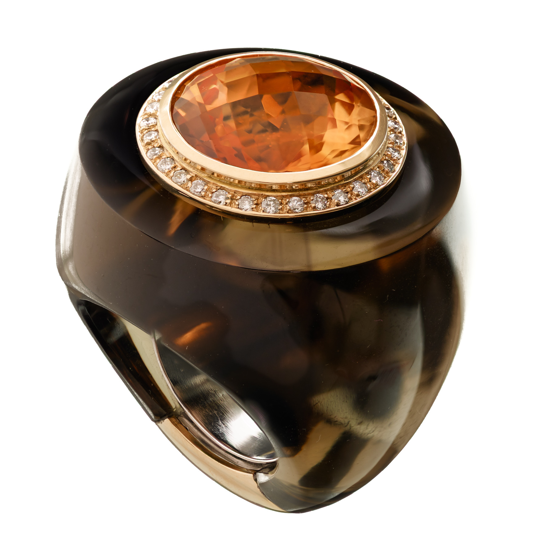 Sanalitro smoky quartz and citrine Barrel ring | JCK On Your Market