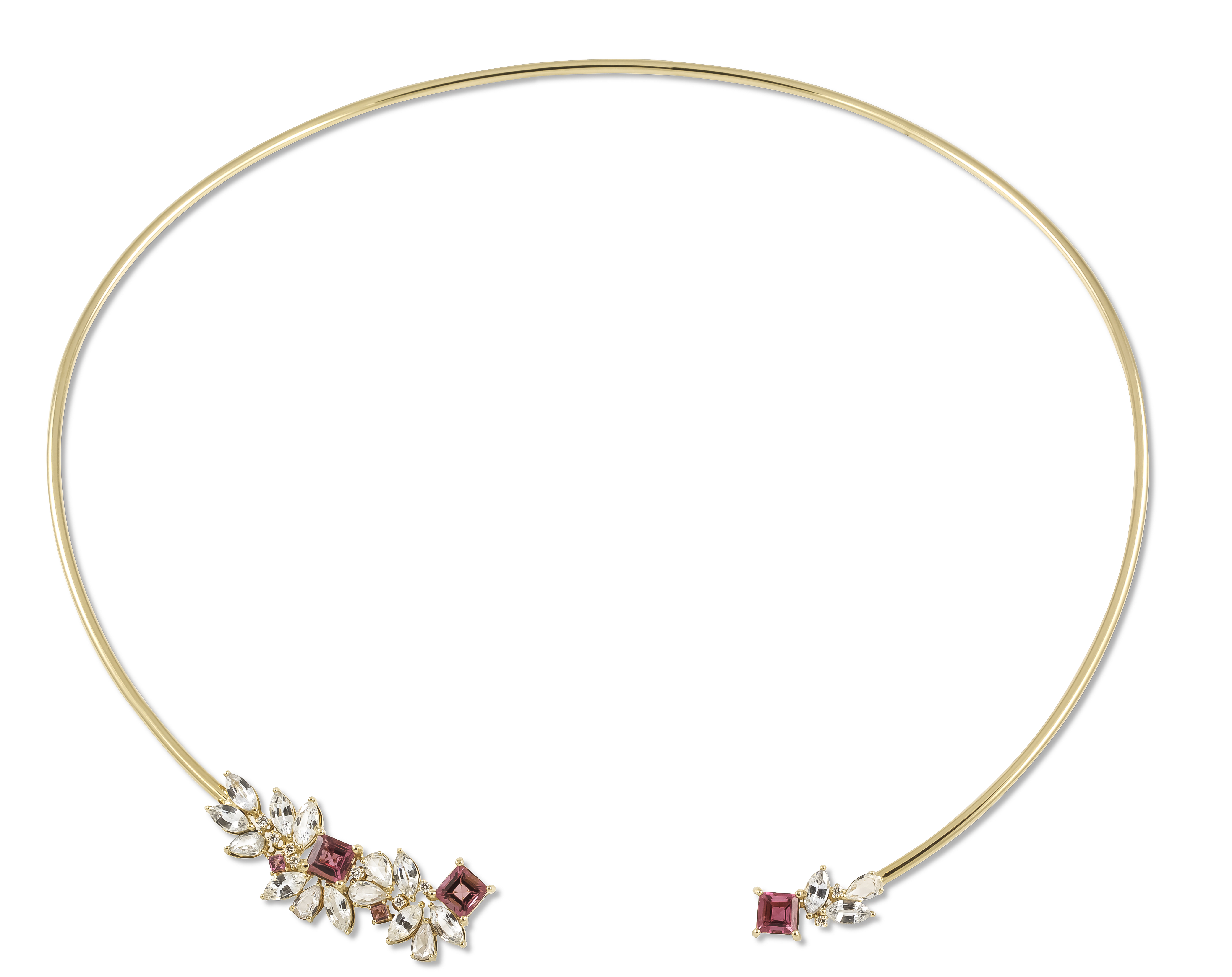 Ayva tourmaline and white sapphire Riya collar necklace