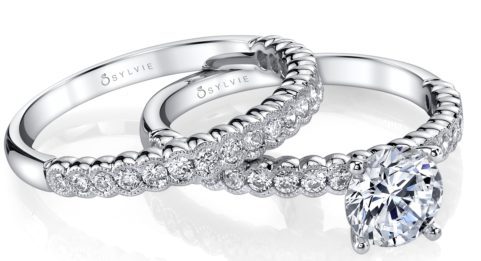 Sylvie Collection engagement ring and wedding band | JCK On Your Market