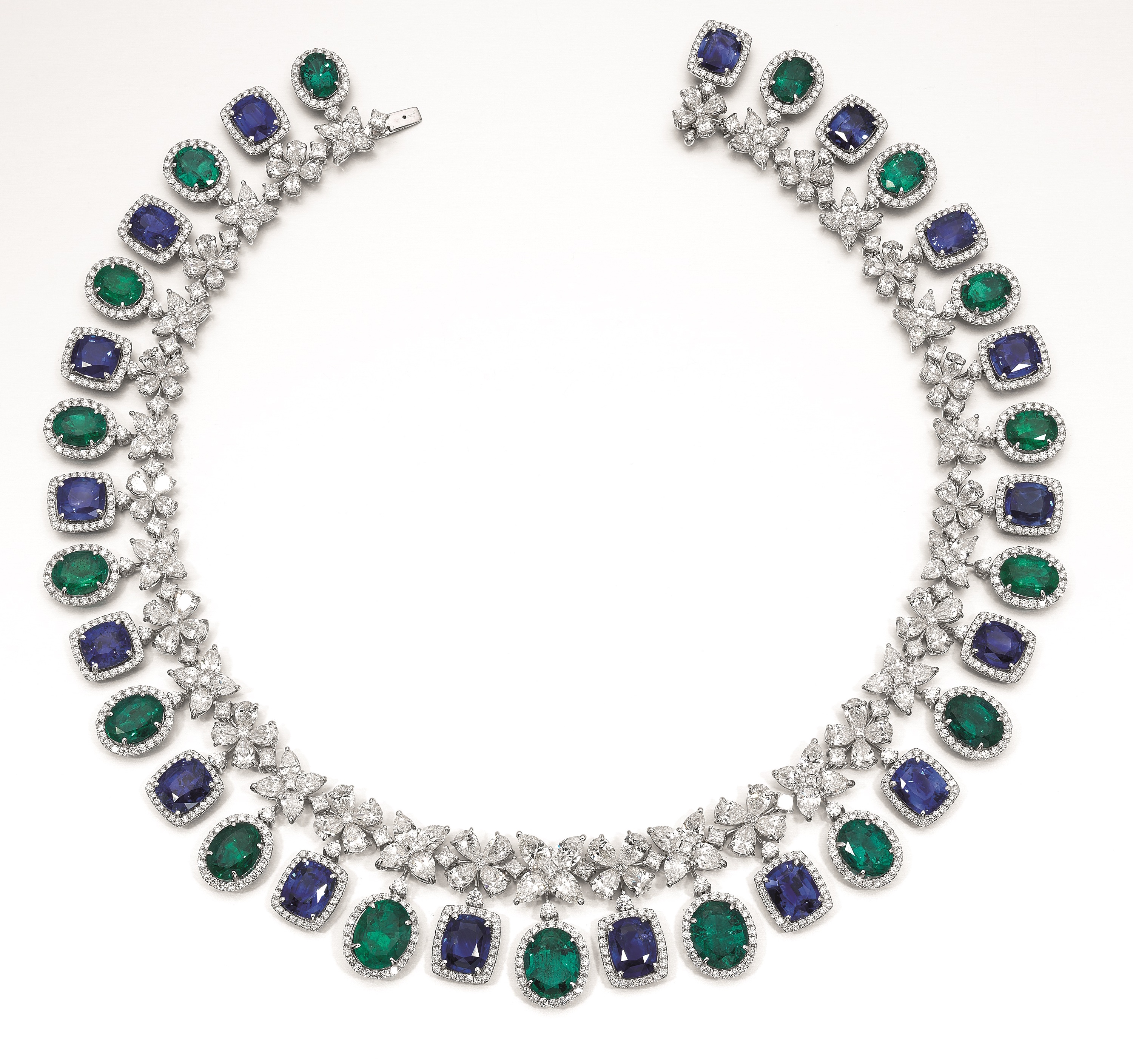 Butani sapphire, emerald, and diamond collier | JCK On Your Market