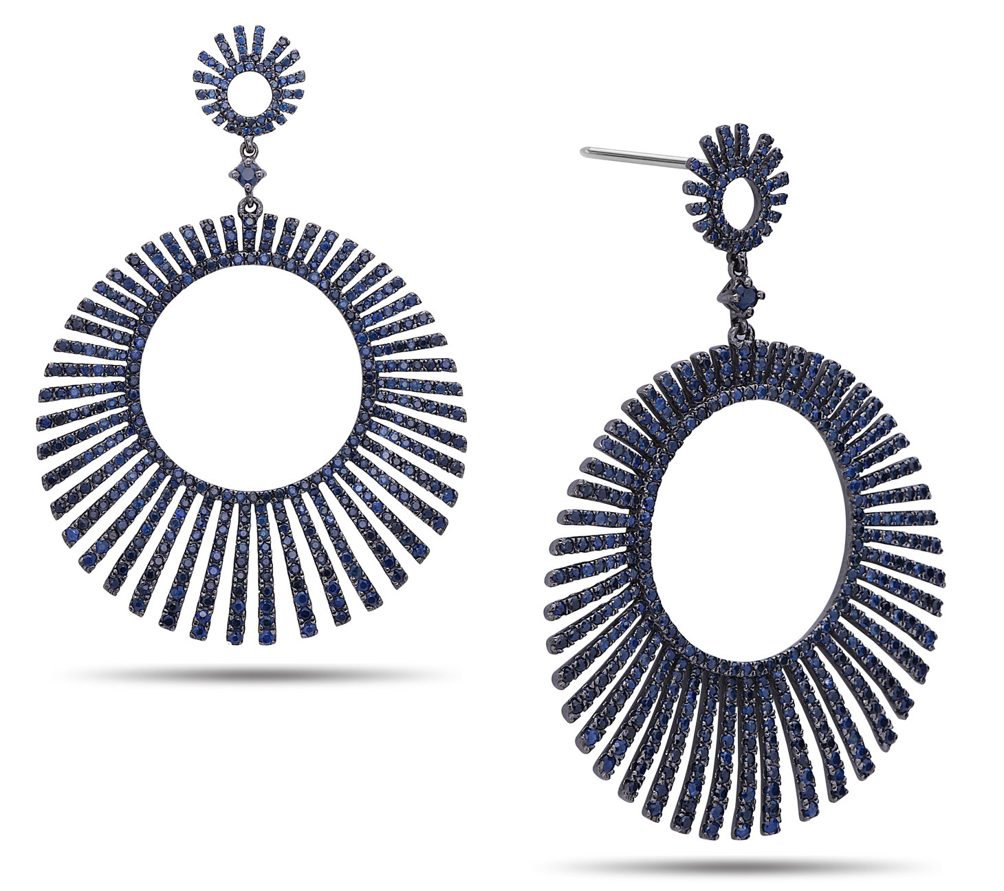 Dilamani sapphire sunburst earrings | JCK On Your Market