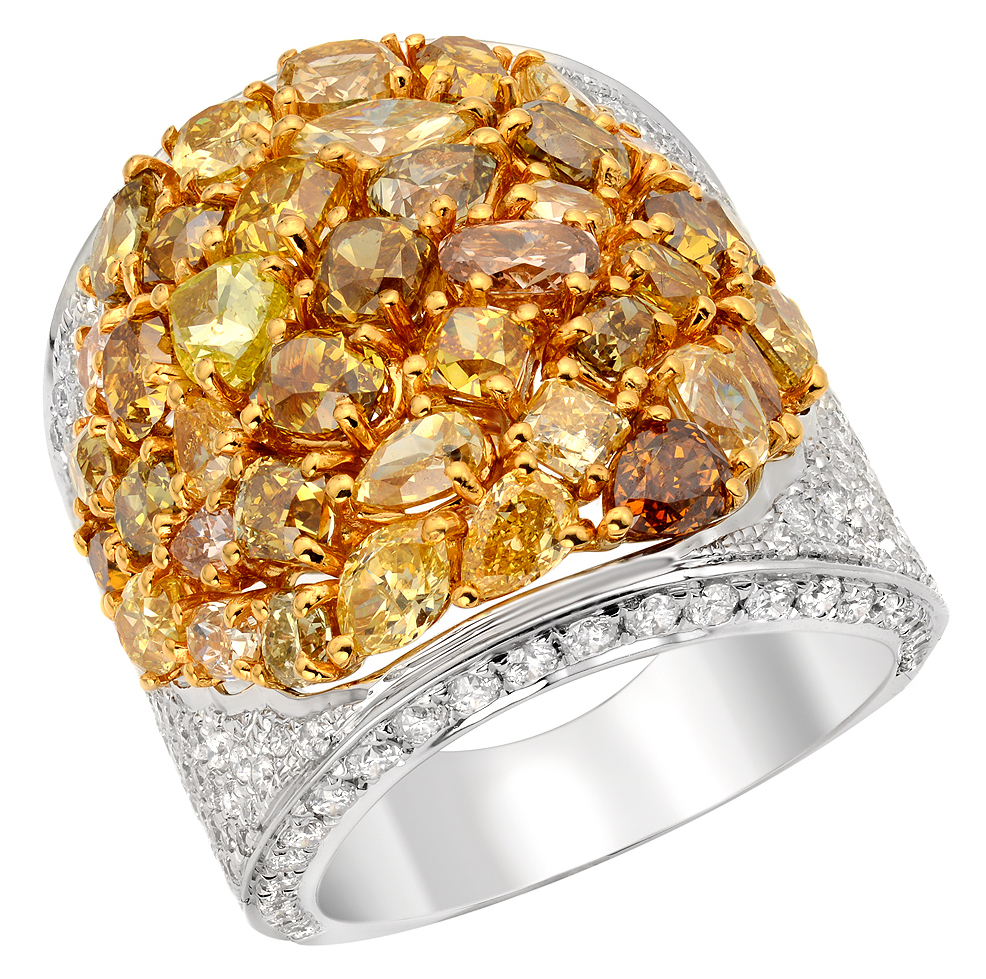 Heskia Almor Designs natural multicolor diamond ring | JCK On Your Market
