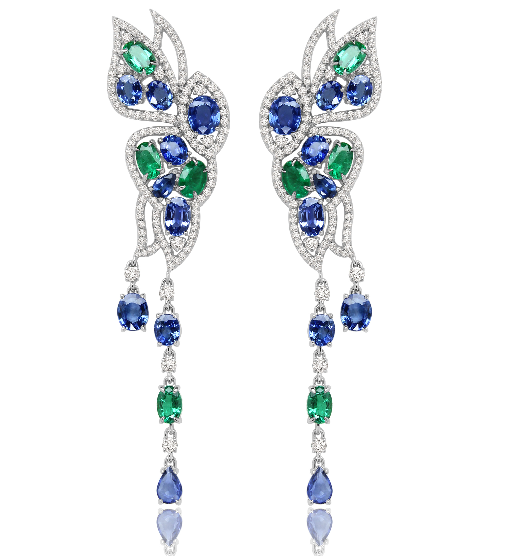 Sutra emerald and sapphire butterfly earrings | JCK On Your Market