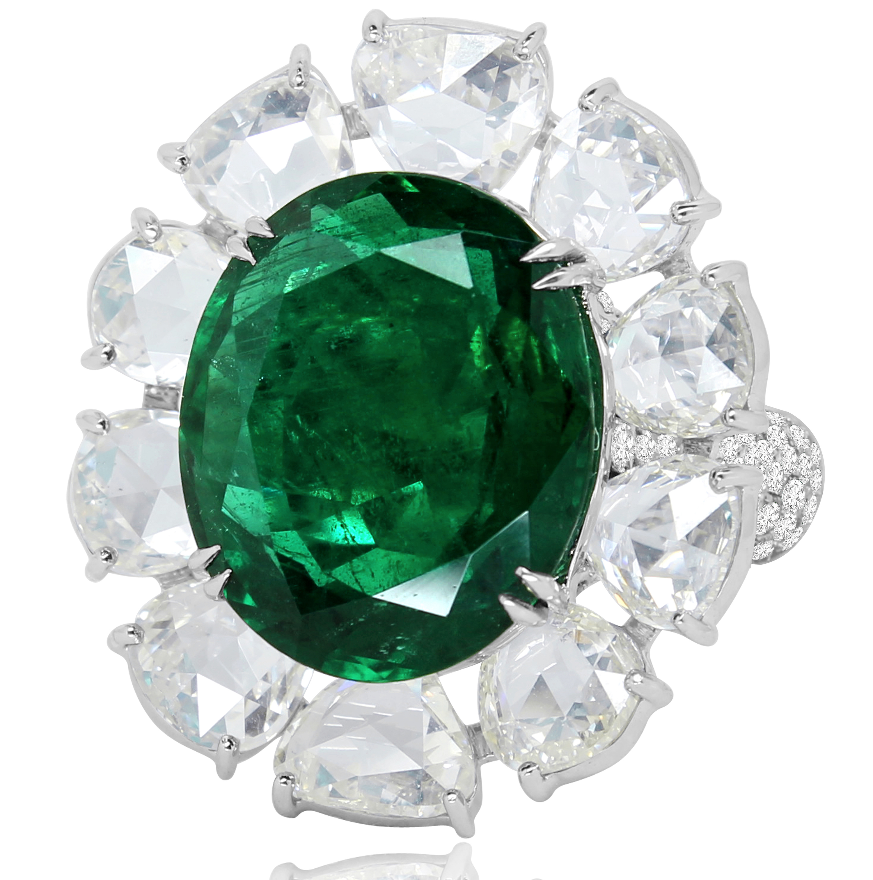 Sutra emerald and rose-cut diamond entourage ring | JCK On Your Market