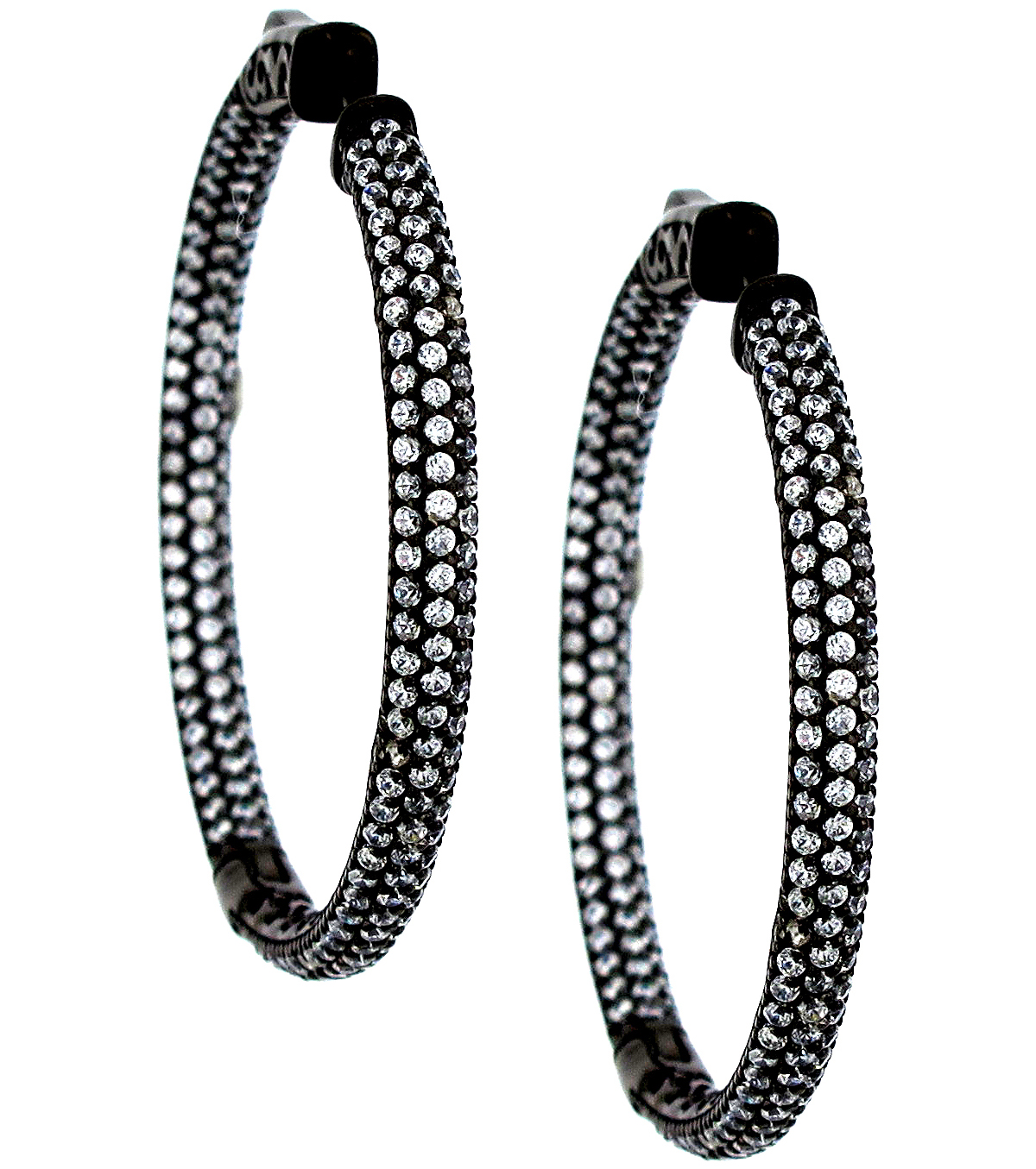 Supreme Jewelry pave diamond hoop earrings | JCK On Your Market