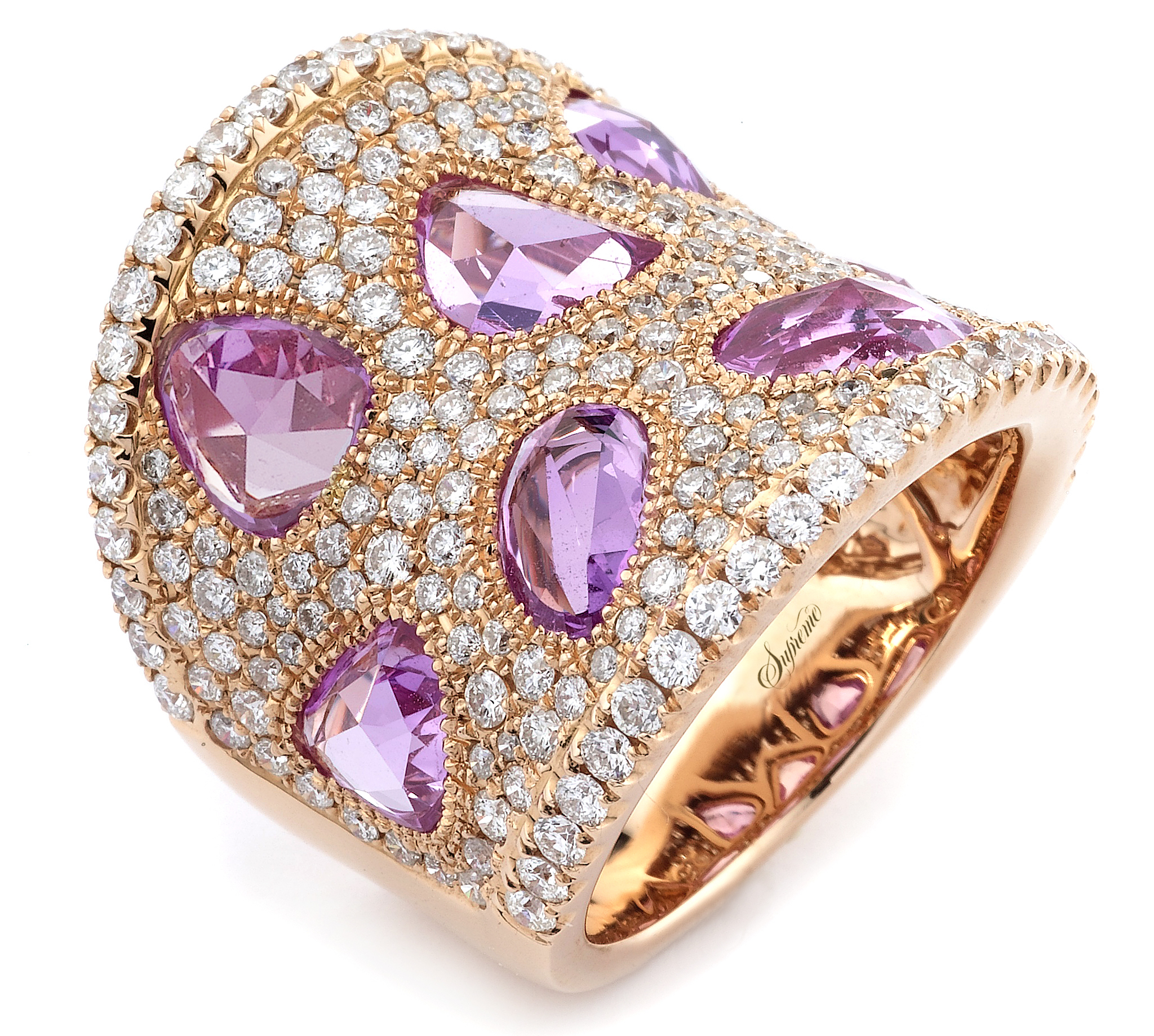 Supreme Jewelry pink sapphire and diamond band ring | JCK On Your Market