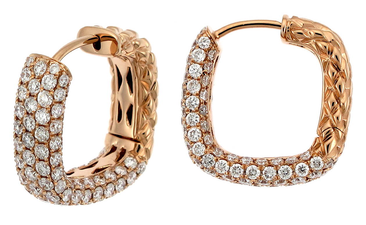 Supreme Jewelry diamond cushion hoop earrings | JCK On Your Market