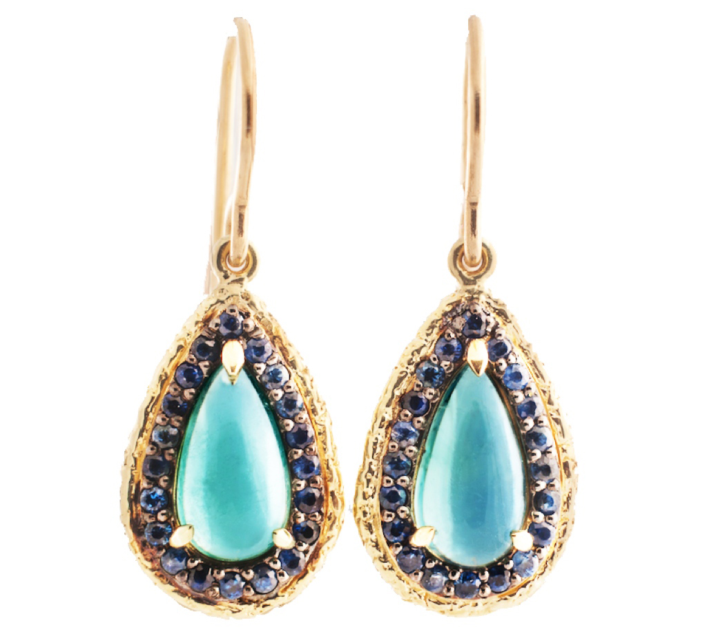 Susan Wheeler teal tourmaline and sapphire drop earrings | JCK On Your Market