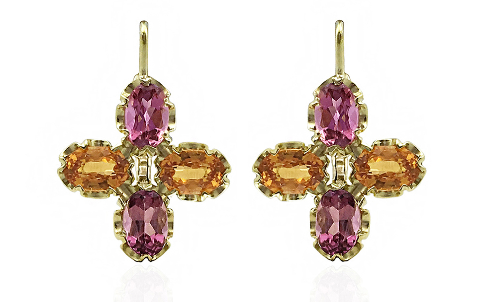 Dorian and Rose pink tourmaline and garnet earrings | JCK On Your Market