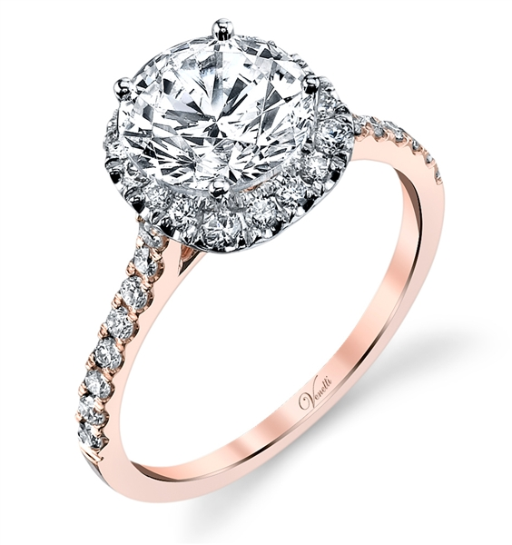 Venetti rose gold halo diamond engagement ring