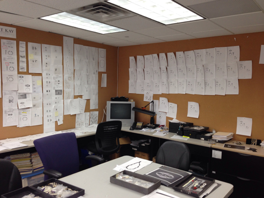 Walls of sketches in the Scott Kay design department