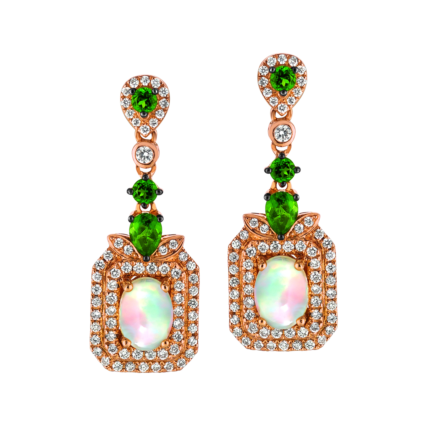 Le Vian 14k Strawberry Gold Earrings With 1 38 Cts T W Neopolitan Opal Pistachio Diopside And 0 57 Ct Vanilla Diamonds 2 550