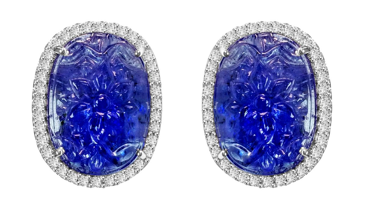VIVAAN carved tanzanite stud earrings