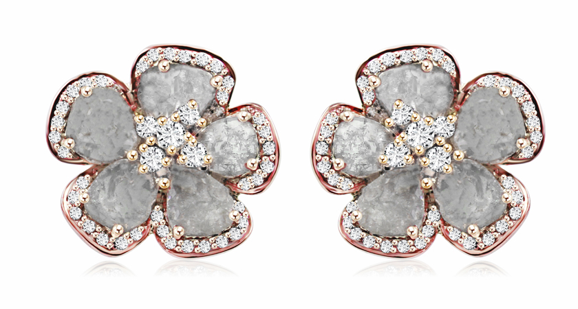 Slice Fl Studs In 18k Rose Gold With 3 1 Cts T W Cut And Colorless Diamonds 5 000 Vivaan