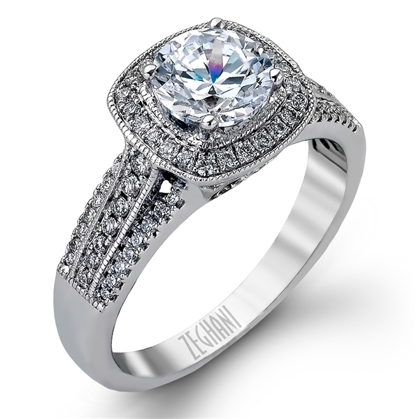 Zeghani triple-row diamond engagement ring