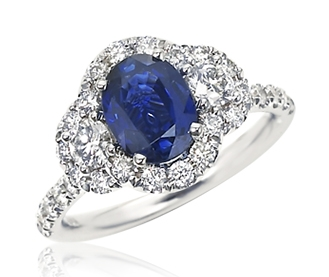Ziva Jewels sapphire three-stone halo ring